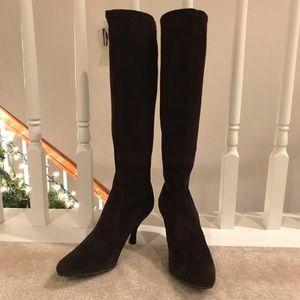 SW Suede Stretch Knee High Heeled Boots Sz 6.5 EUC